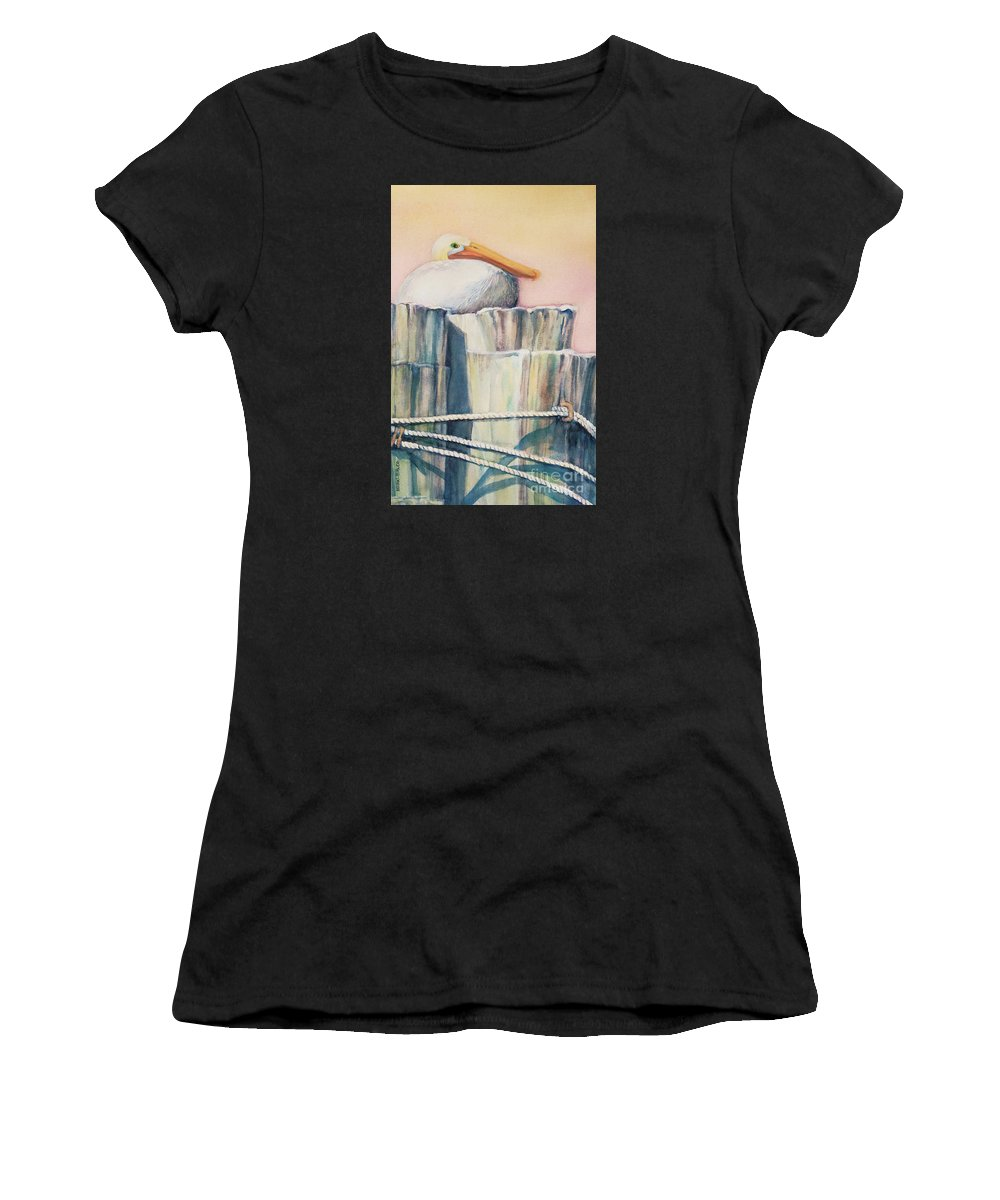 Top Artist Women's T-Shirt featuring the painting Taking A Break by Sharon Nelson-Bianco
