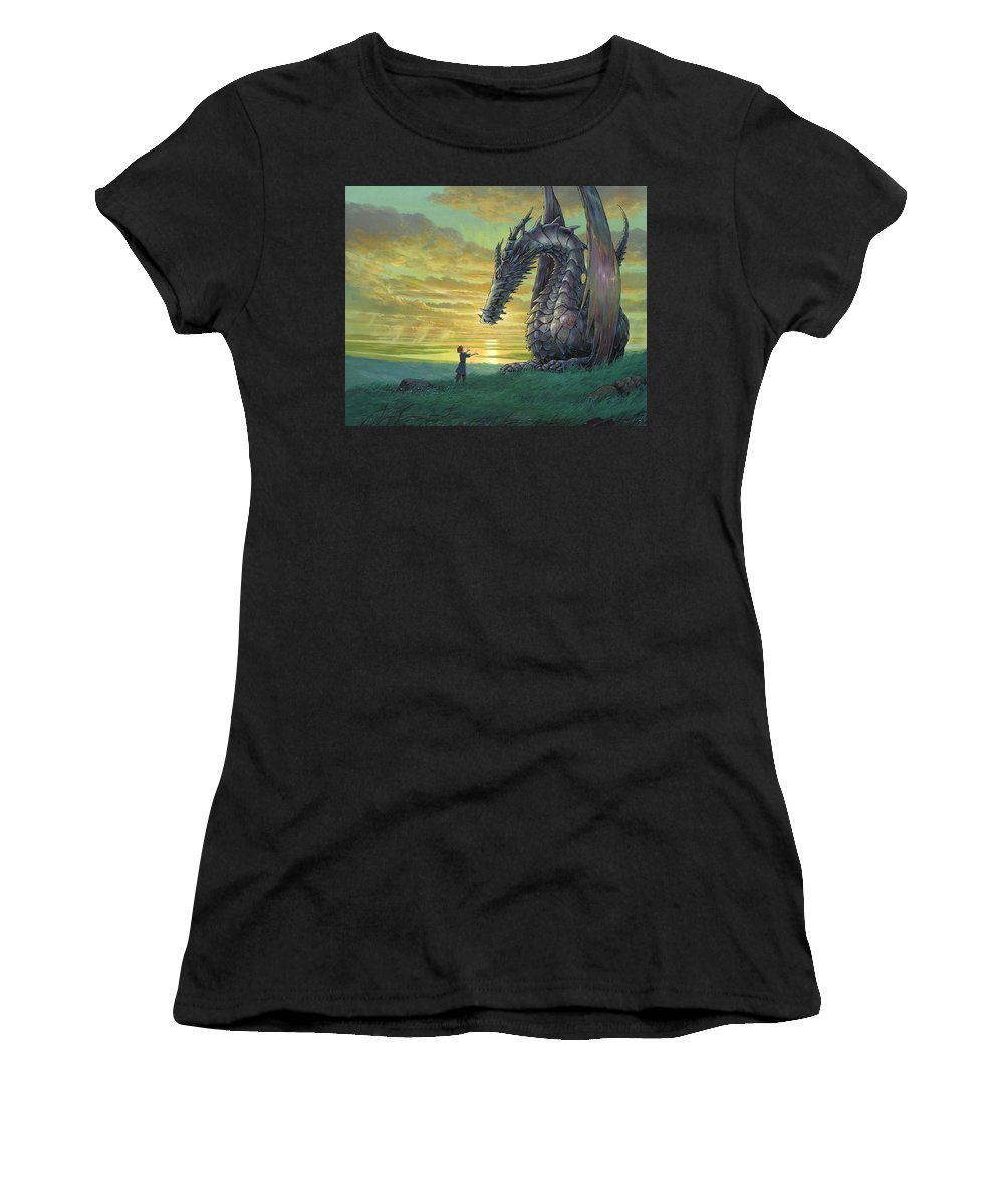 Tales From Earthsea Women's T-Shirt (Athletic Fit) featuring the digital art Tales From Earthsea by Mery Moon