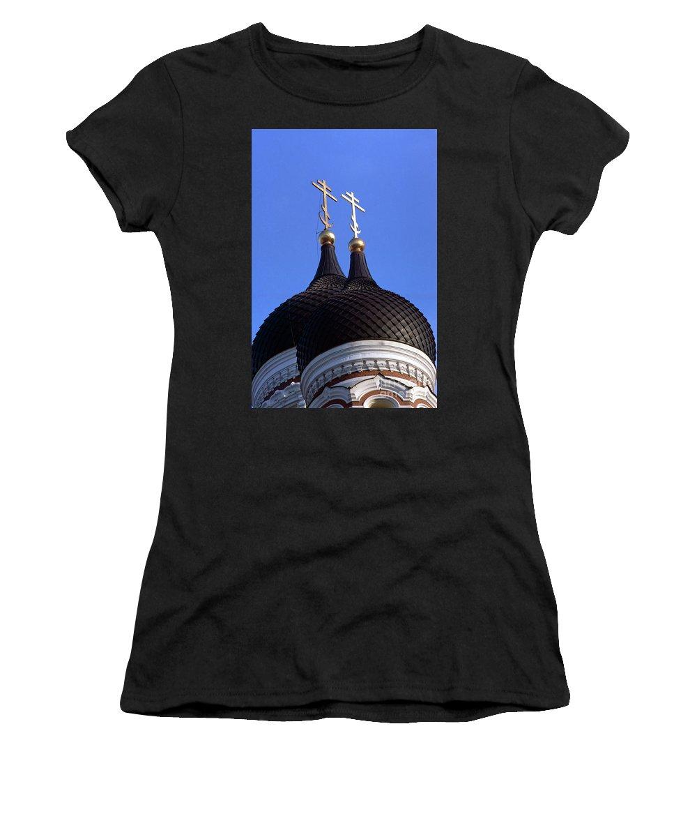 Estonian Women's T-Shirt (Athletic Fit) featuring the photograph Tallinn Estonia Alexander Nevski Cathedral. by Richard Wareham
