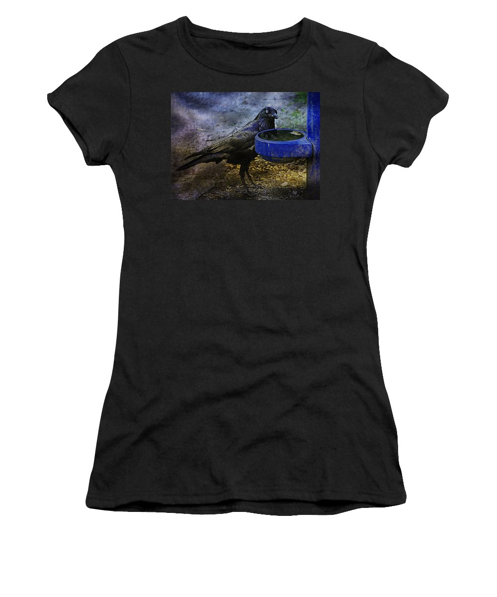 Crow Women's T-Shirt (Athletic Fit) featuring the photograph Taming Of The Crow by Georgiana Romanovna