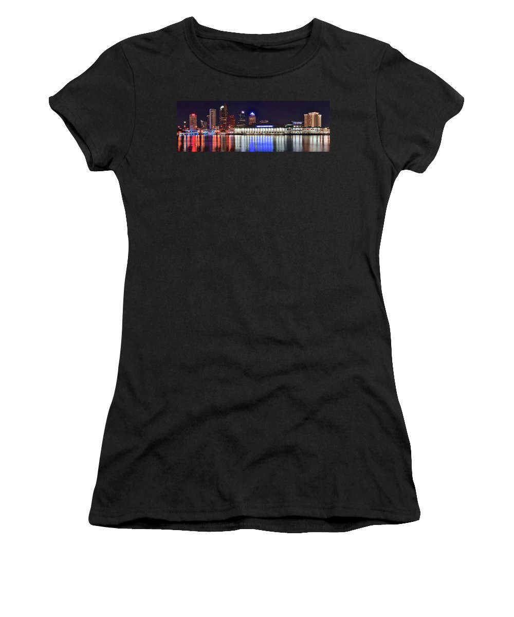 Tampa Women's T-Shirt (Athletic Fit) featuring the photograph Tampa Bay Panorama by Frozen in Time Fine Art Photography