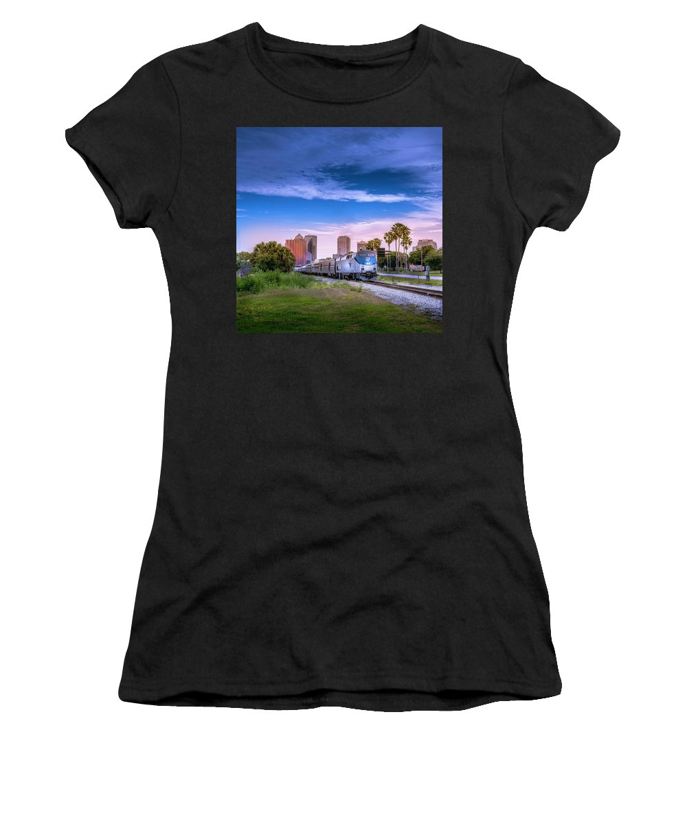 Amtrak Women's T-Shirt (Athletic Fit) featuring the photograph Tampa Departure by Marvin Spates