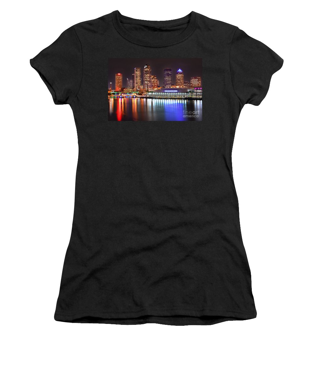 Tampa Women's T-Shirt featuring the photograph Tampa Skyline At Night Early Evening by Jon Holiday