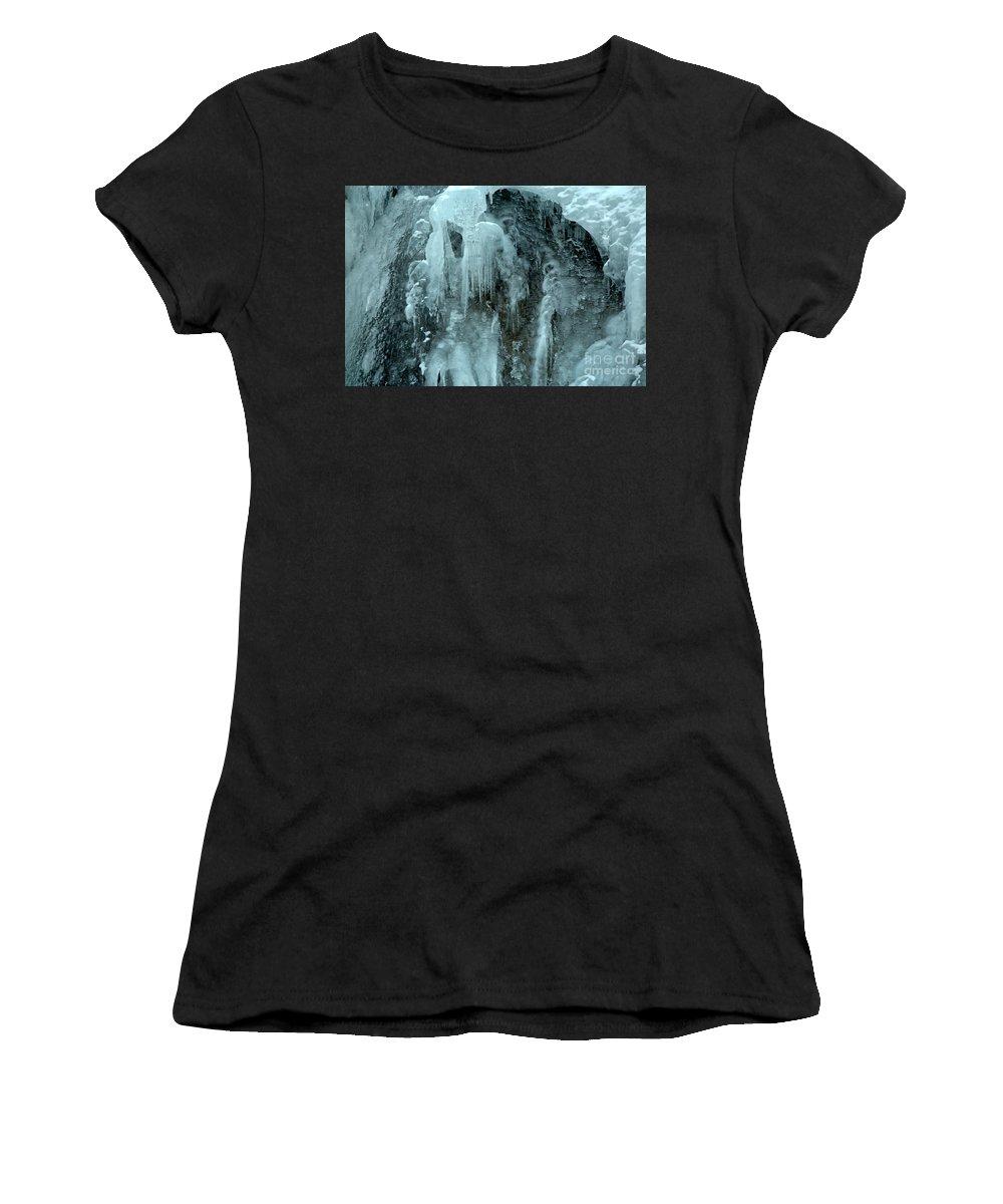 Tangle Falls Women's T-Shirt featuring the photograph Tangle Falls Frozen Cascade by Adam Jewell