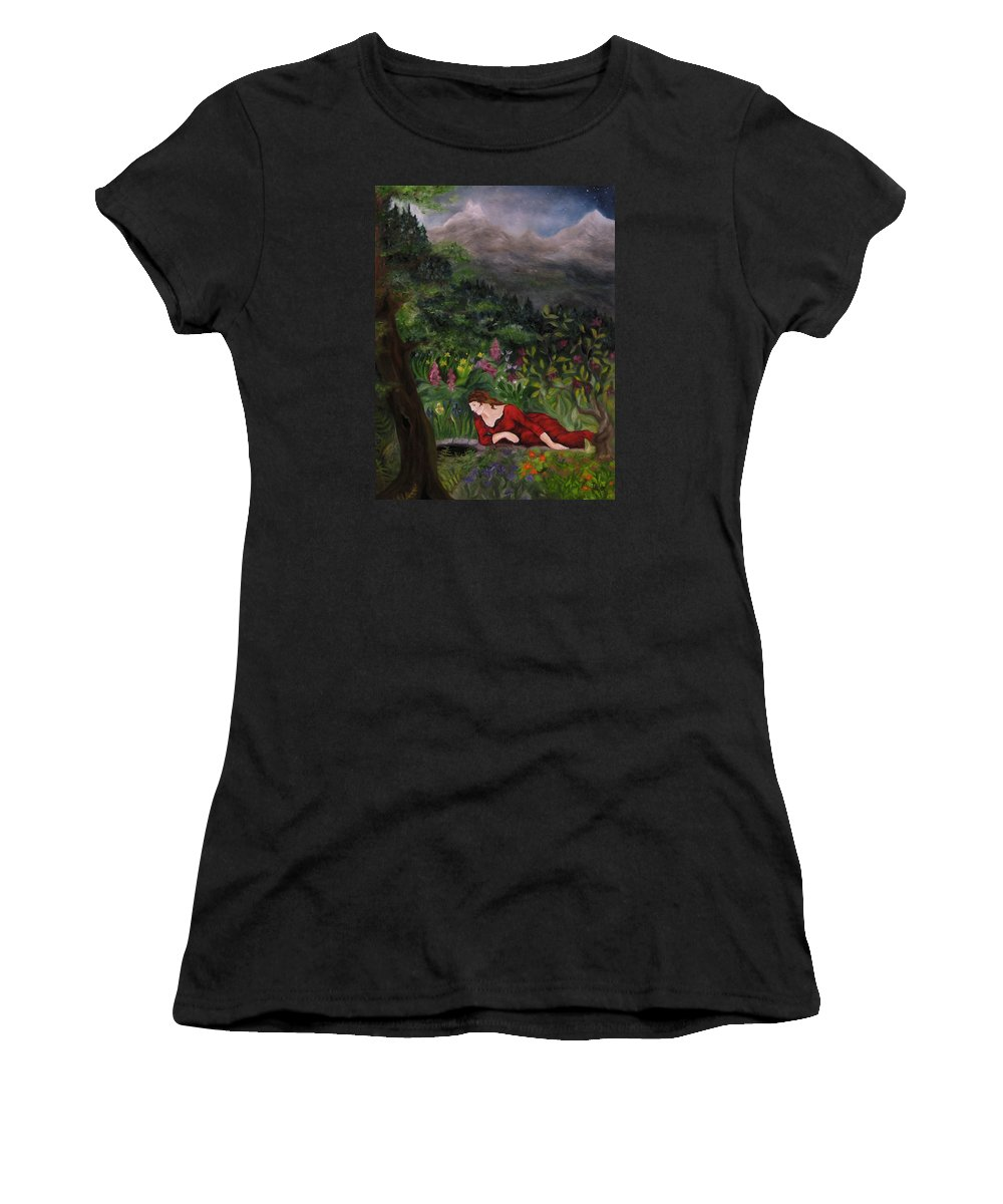 Fairy Tales Women's T-Shirt featuring the painting Tansel Of Loralin by FT McKinstry
