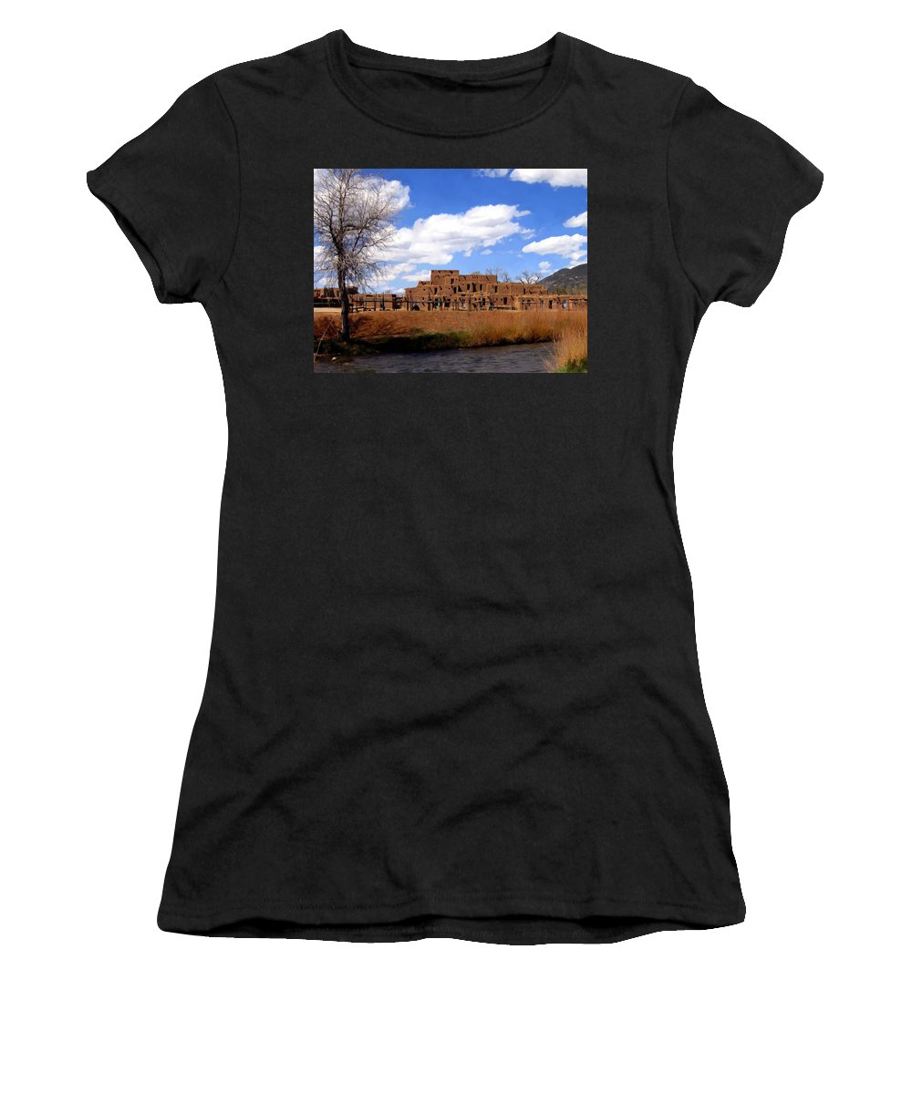 Taos Women's T-Shirt (Athletic Fit) featuring the photograph Taos Pueblo Early Spring by Kurt Van Wagner