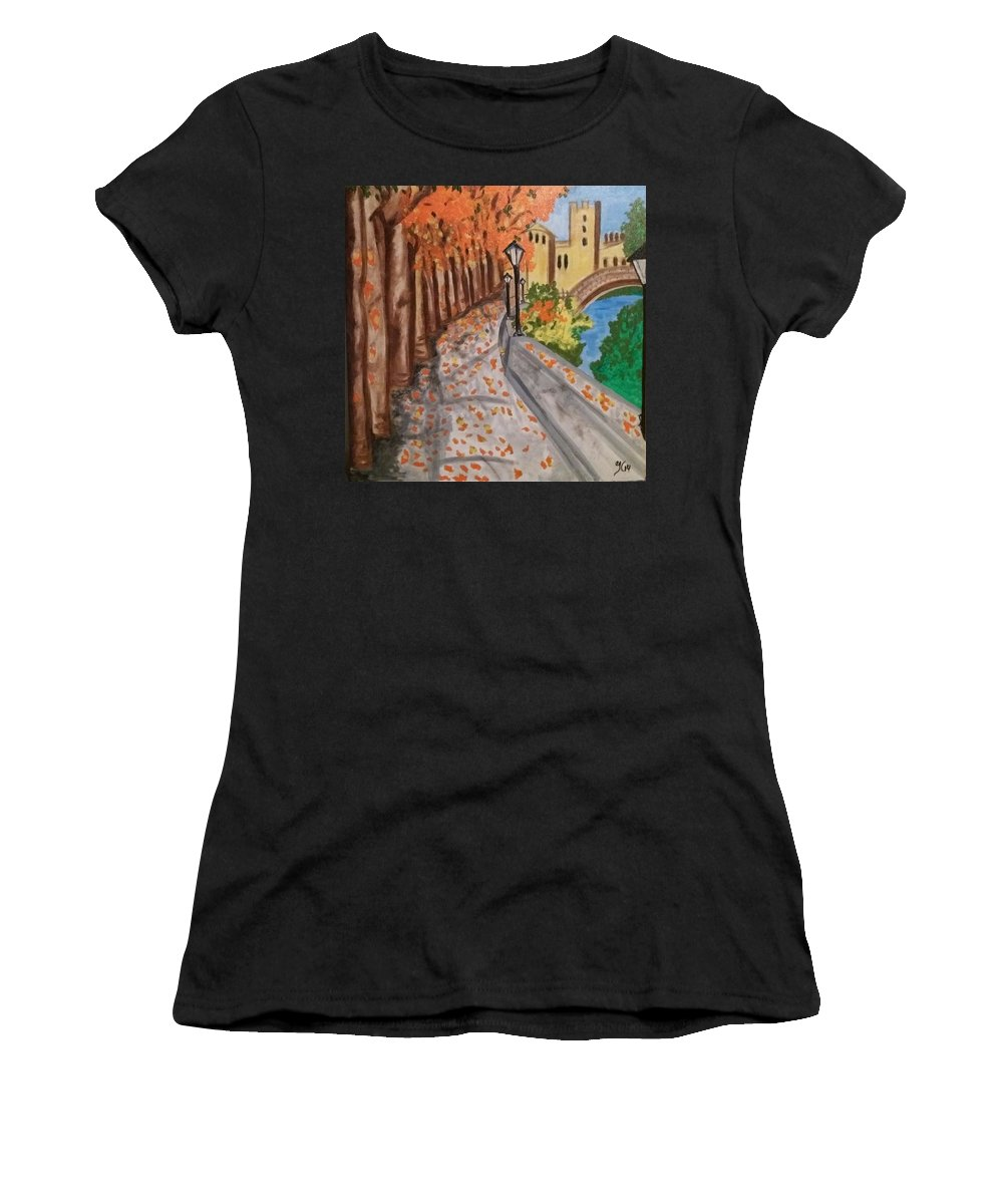 Women's T-Shirt (Athletic Fit) featuring the painting Tarde by JIsaac C