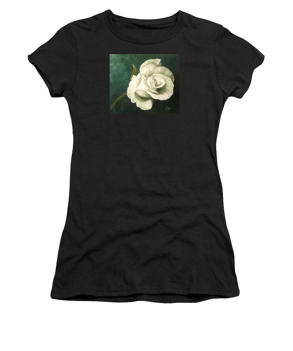 Rose Flower Still Life White Women's T-Shirt (Athletic Fit) featuring the painting Tea Rose by Natalia Tejera