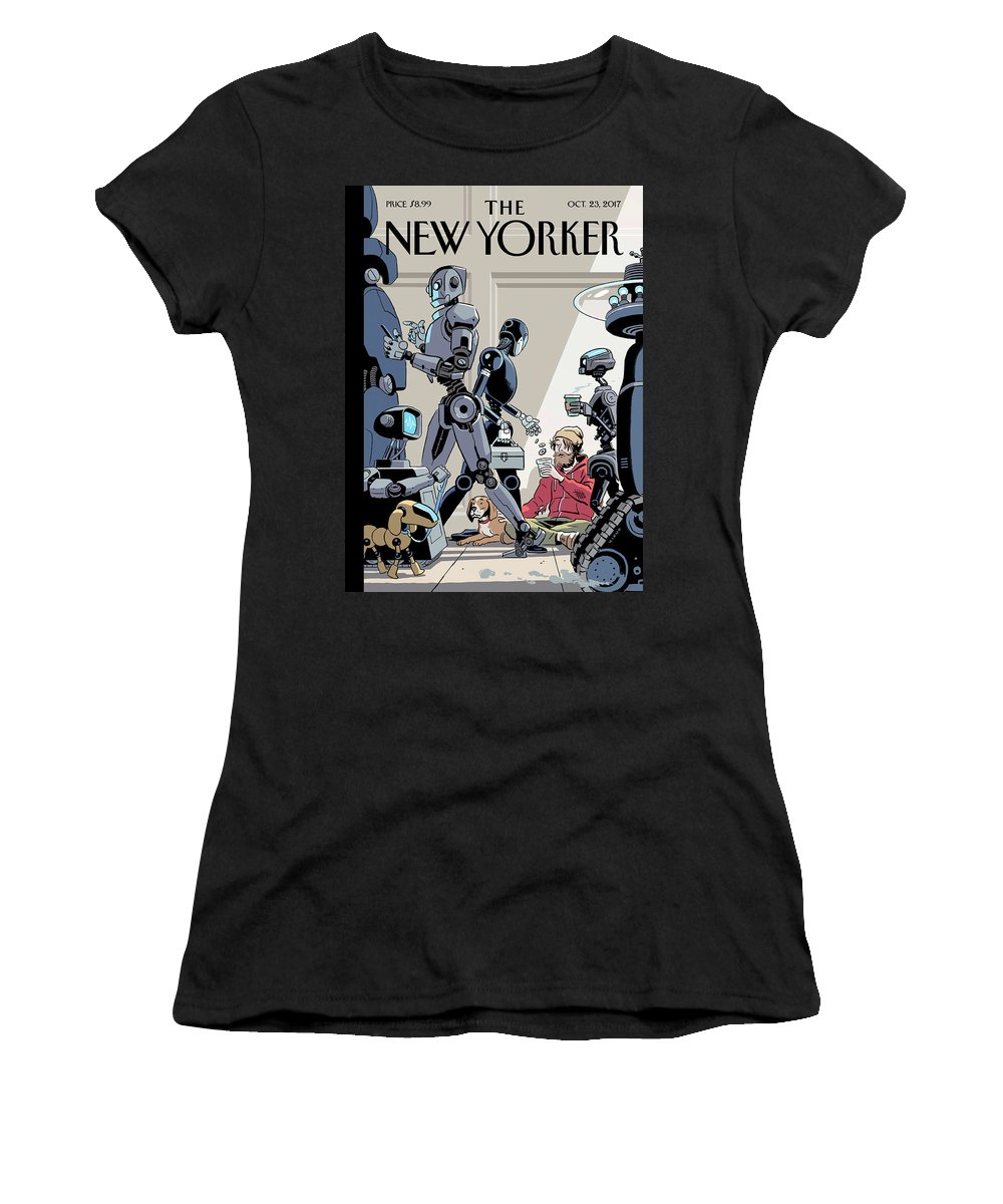 Tech Support Women's T-Shirt featuring the drawing Tech Support by R Kikuo Johnson