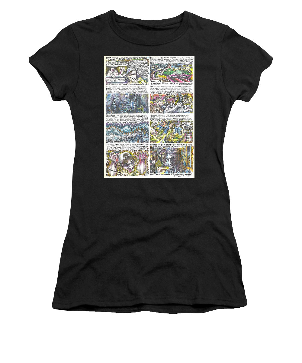 Cartoon Women's T-Shirt (Athletic Fit) featuring the drawing Telling Them What They Want To Hear by Jacki Randall