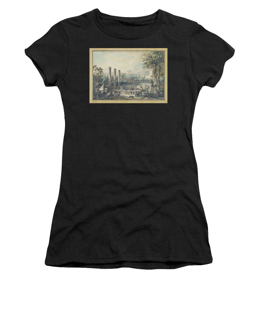 Louis Jean Desprez 1743-1804 Temple De Serapis à Pozzolo Women's T-Shirt (Athletic Fit) featuring the painting Temple De Serapis by Louis Jean