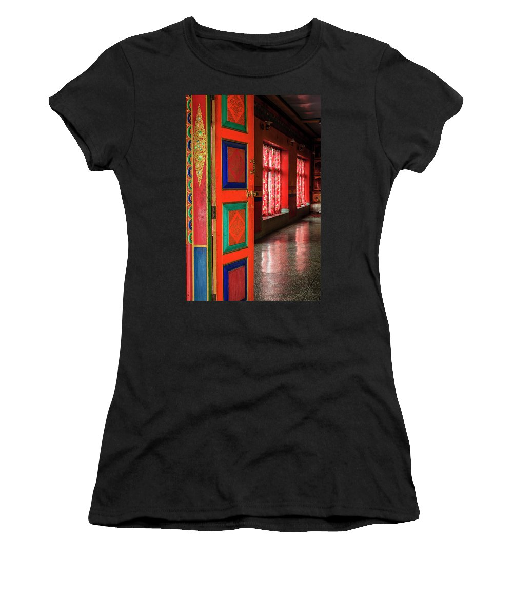 Asia Women's T-Shirt (Athletic Fit) featuring the photograph Temple Door by Alexey Stiop