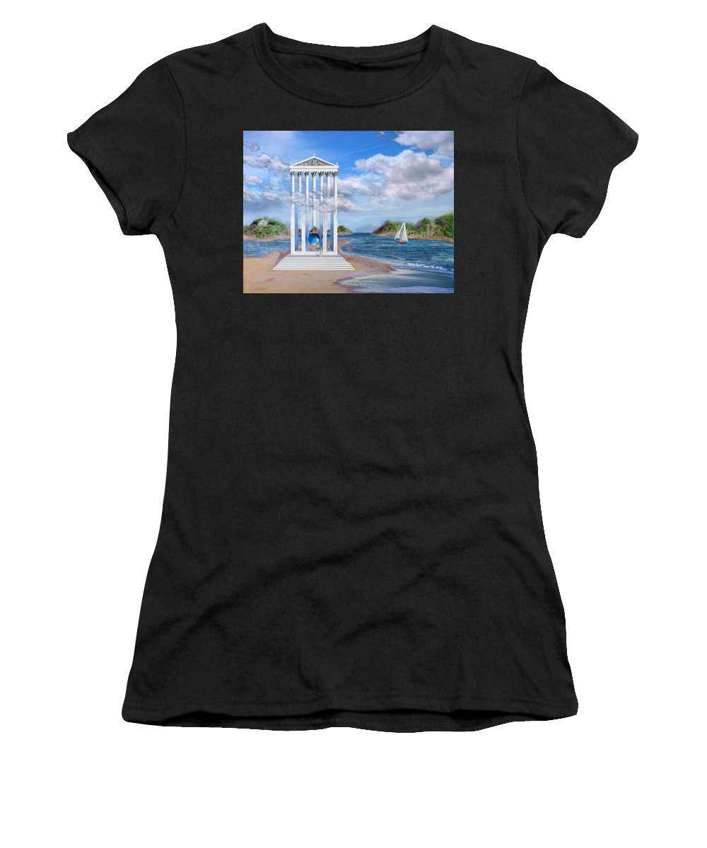 Landscape Women's T-Shirt (Athletic Fit) featuring the painting Temple For No One by Steve Karol