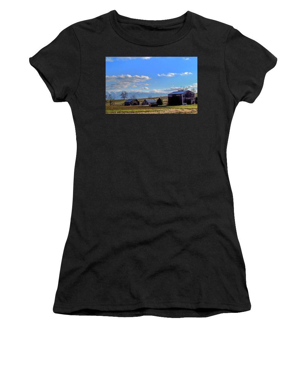 Country Farm Winter Mountains Snow Rural Landscape Women's T-Shirt featuring the photograph Tennessee Farm by Judy Baird