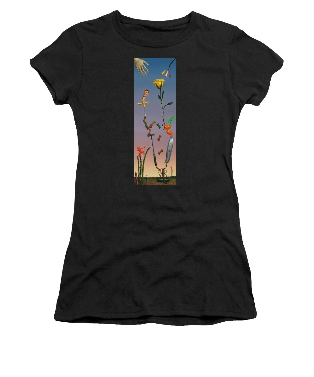 Rose Women's T-Shirt (Athletic Fit) featuring the painting Tenuous Still-life 3 by James W Johnson
