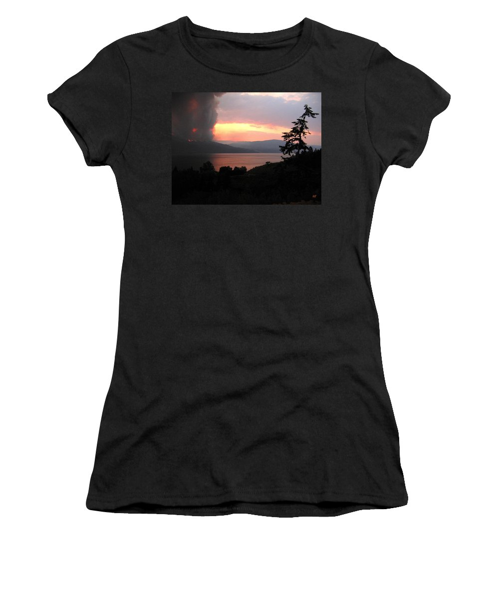 Forest Fire Women's T-Shirt (Athletic Fit) featuring the photograph Terrace Mountain Fire 4 by Will Borden