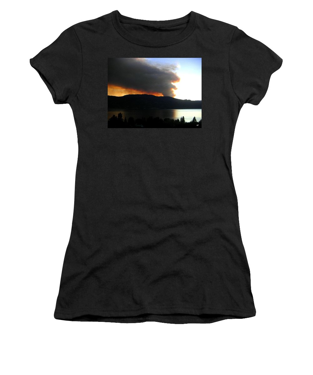 Forest Fire Women's T-Shirt (Athletic Fit) featuring the photograph Terrace Mountain Fire by Will Borden