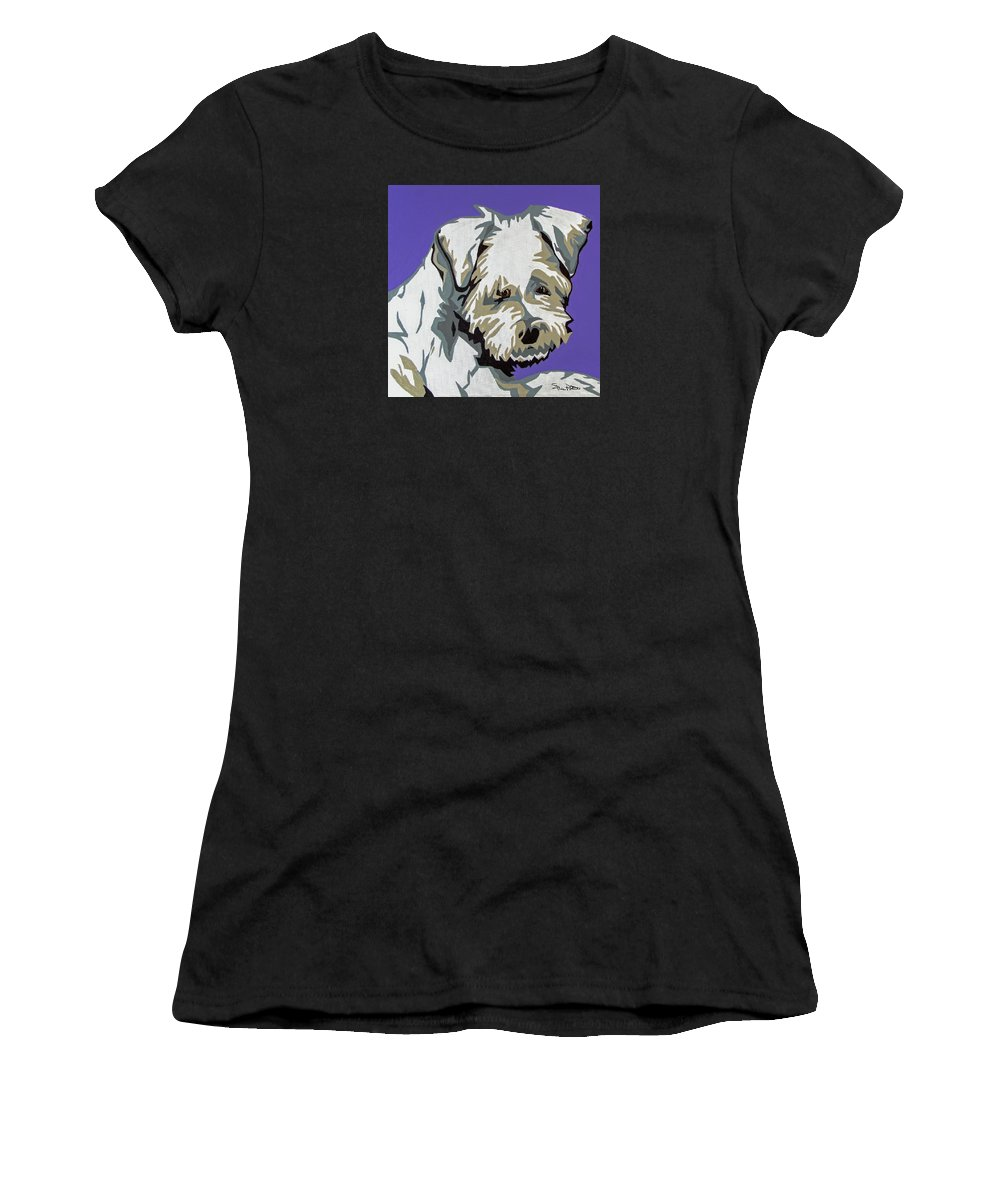 Terrier Women's T-Shirt featuring the painting Terrier Mix by Slade Roberts