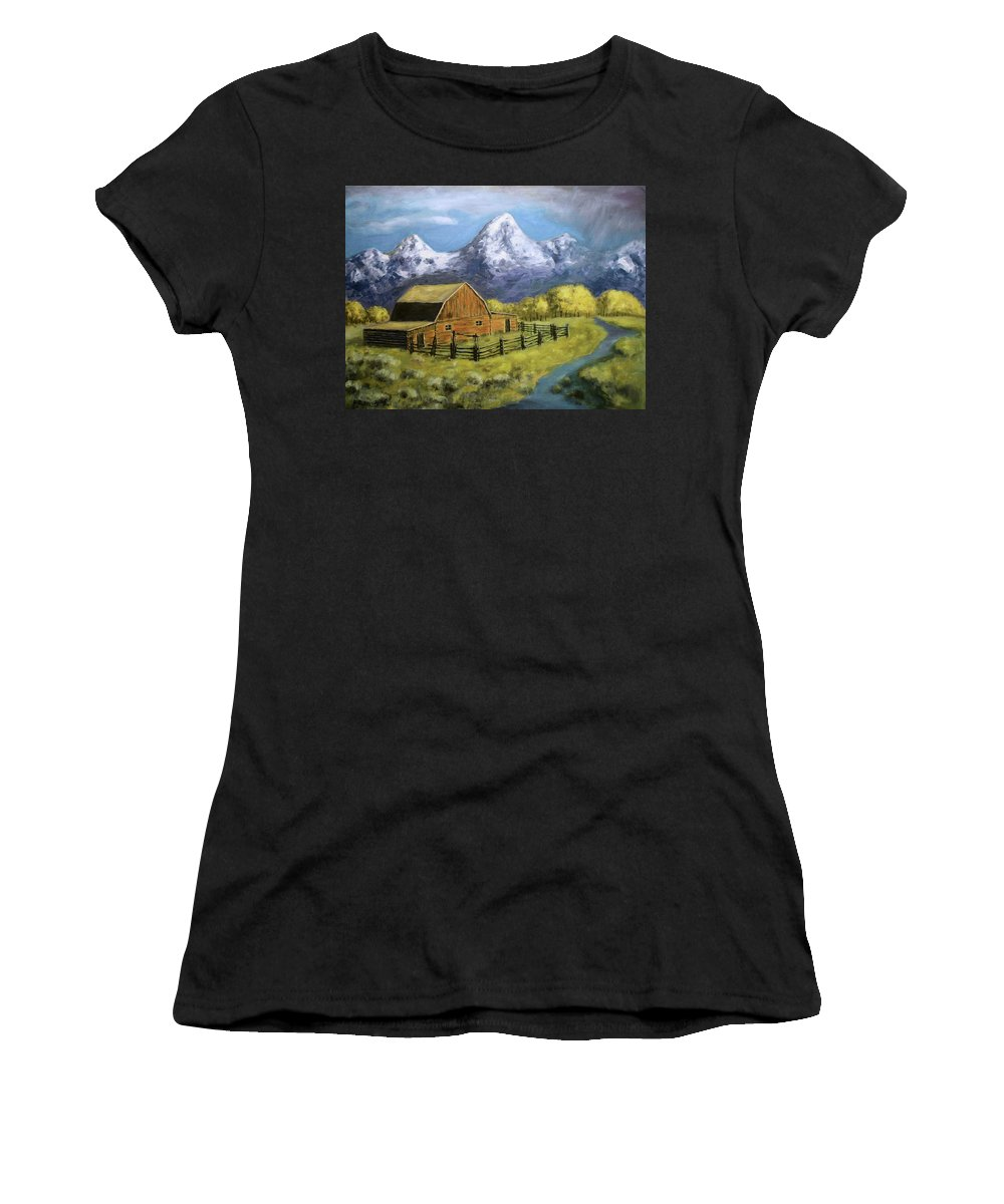 Old Barn Women's T-Shirt (Athletic Fit) featuring the painting Teton Summer by Richard Nervig