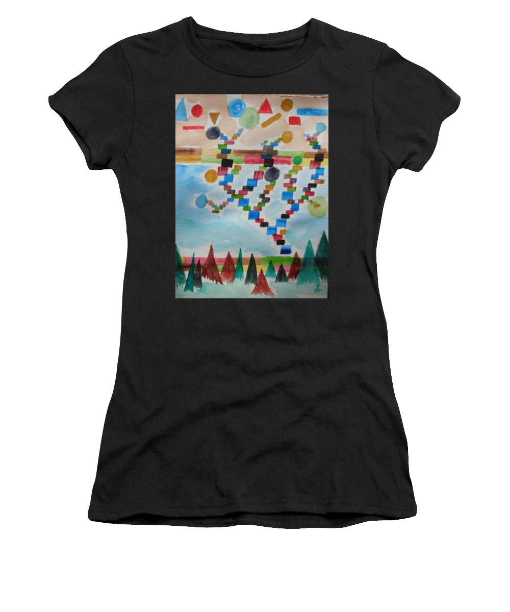 Abstract Women's T-Shirt (Athletic Fit) featuring the painting Tetrus Meets Nature by Warren Thompson