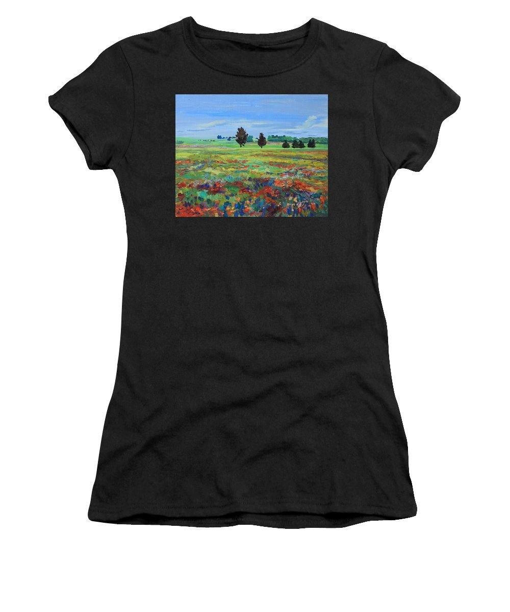 Painting Women's T-Shirt featuring the painting Texas Landscape Bluebonnet Indian Paintbrush Explosion by Maris Salmins