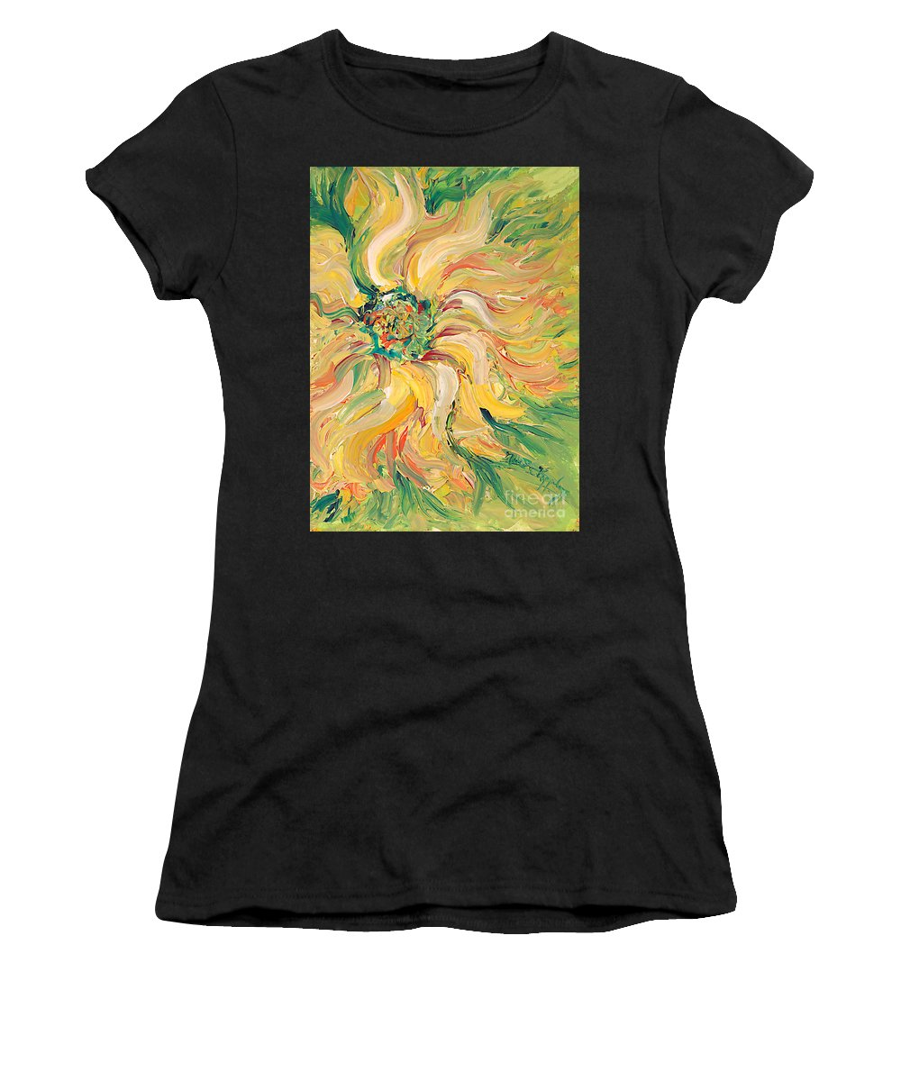 Texture Women's T-Shirt (Athletic Fit) featuring the painting Textured Green Sunflower by Nadine Rippelmeyer