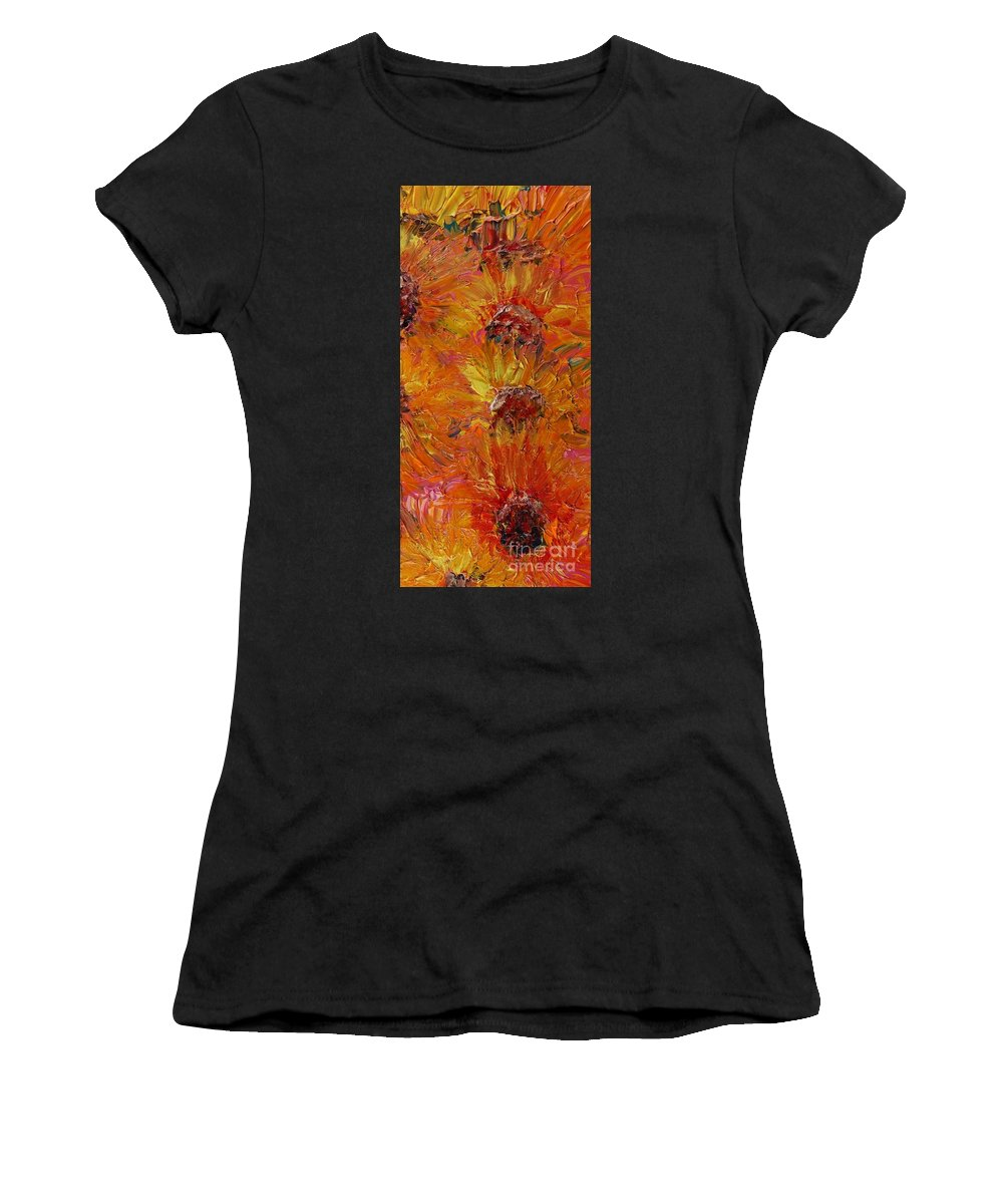 Sunflowers Women's T-Shirt featuring the painting Textured Sunflowers by Nadine Rippelmeyer
