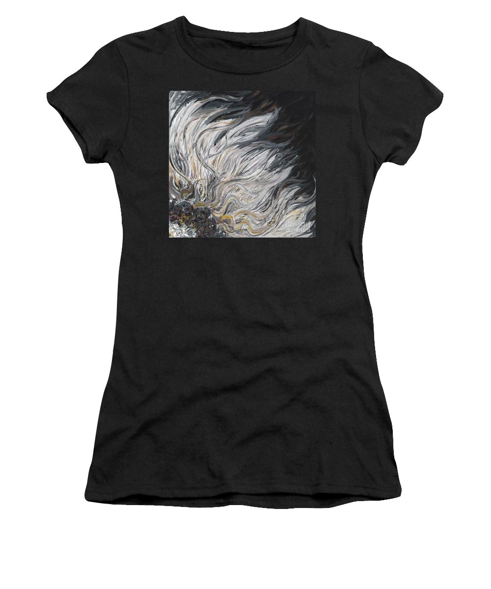 White Women's T-Shirt (Athletic Fit) featuring the painting Textured White Sunflower by Nadine Rippelmeyer