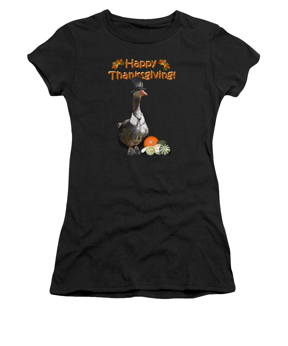 Thanksgiving Women's T-Shirt (Athletic Fit) featuring the mixed media Thanksgiving Pilgrim Goose by Gravityx9 Designs