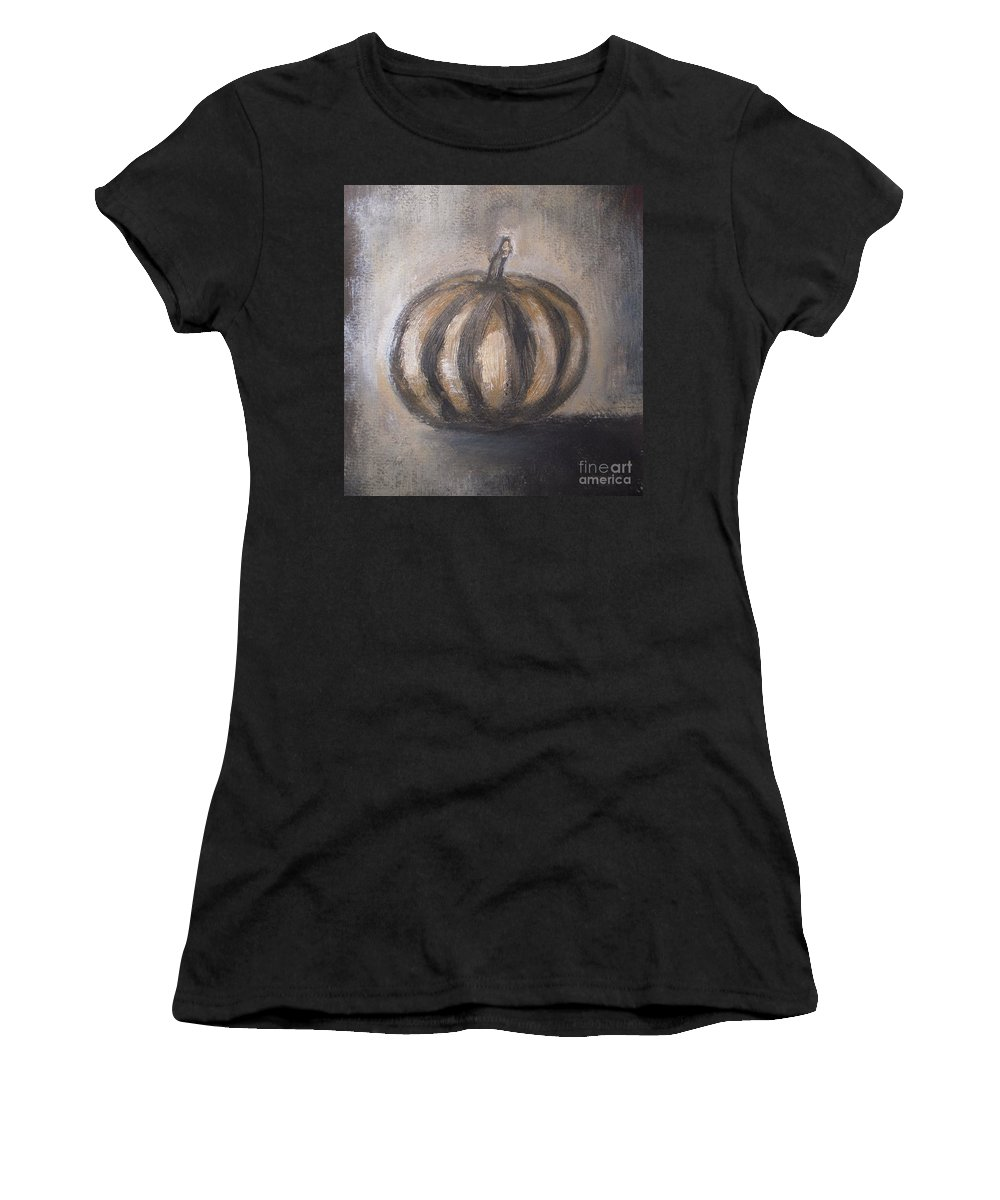 Thanksgiving Women's T-Shirt (Athletic Fit) featuring the painting Thanksgiving - Pumpkin by Vesna Antic