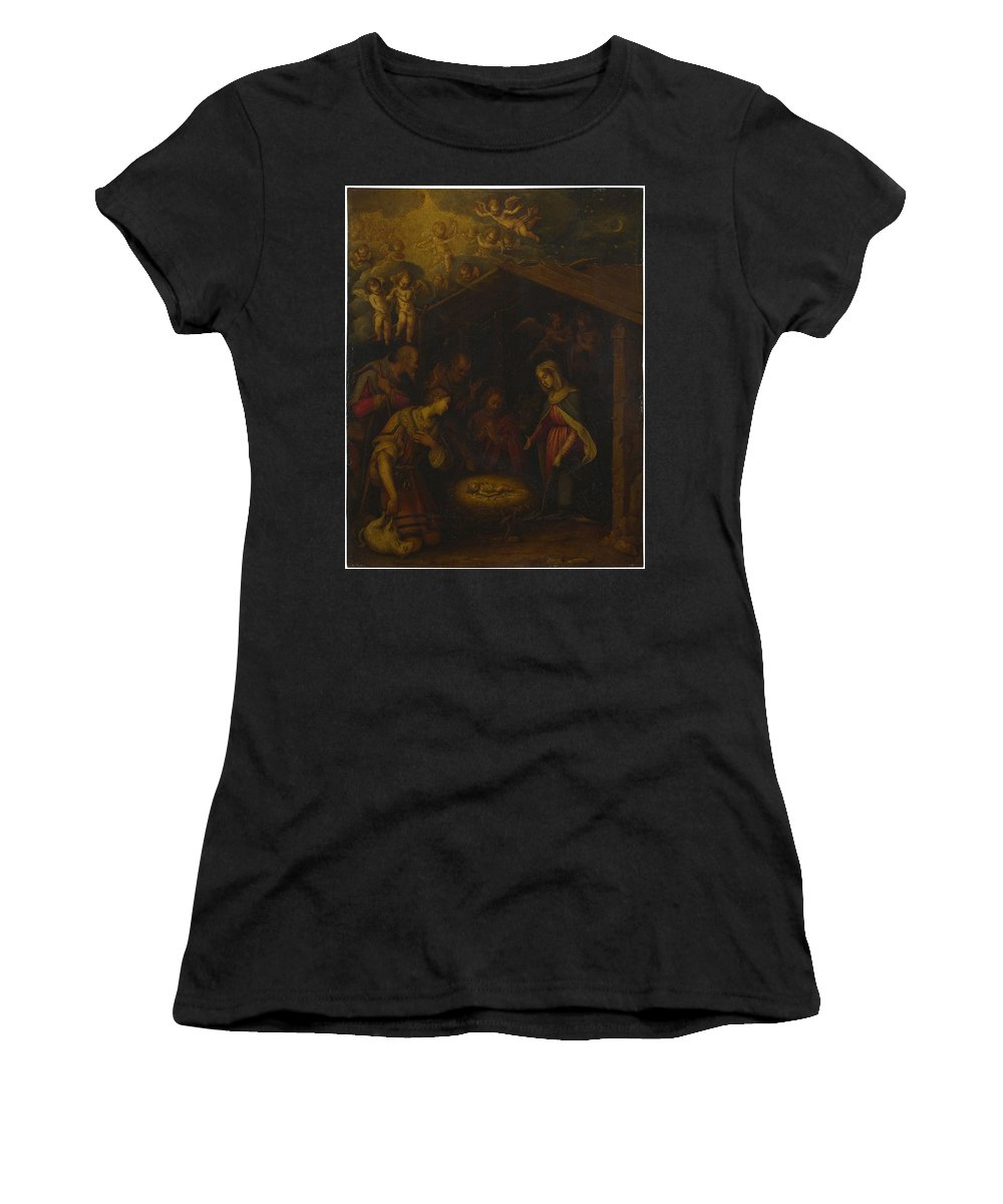 Italian Women's T-Shirt (Athletic Fit) featuring the digital art The Adoration Of The Shepherds by PixBreak Art