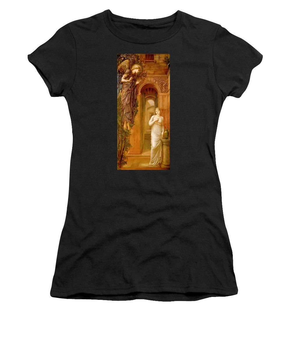 The Women's T-Shirt (Athletic Fit) featuring the painting The Annnciation 1879 by BurneJones Edward