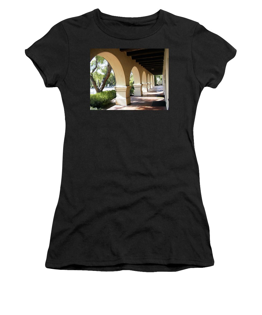 Mission Women's T-Shirt (Athletic Fit) featuring the photograph The Arches Mission Santa Ines by Kurt Van Wagner