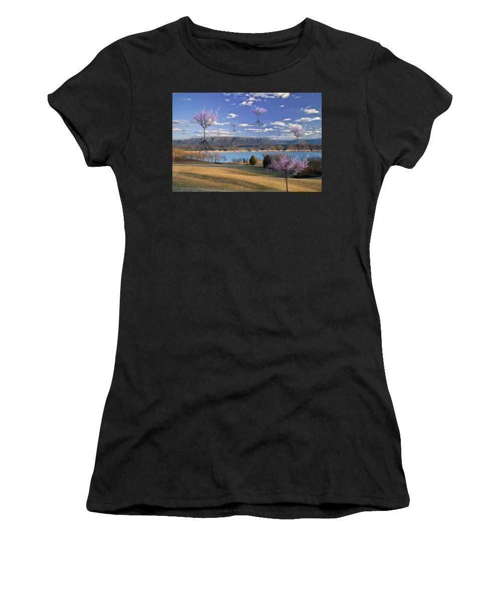 Blue; Clouds; Fantasy; Flowers; Flying; Lake; Landing; Mountains; Pink; Redbuds; Seasons; Sky; Spring; Surreal; Surrealism; Trees; Fantasy Women's T-Shirt featuring the photograph The Arrival Of Spring by Marc Ward