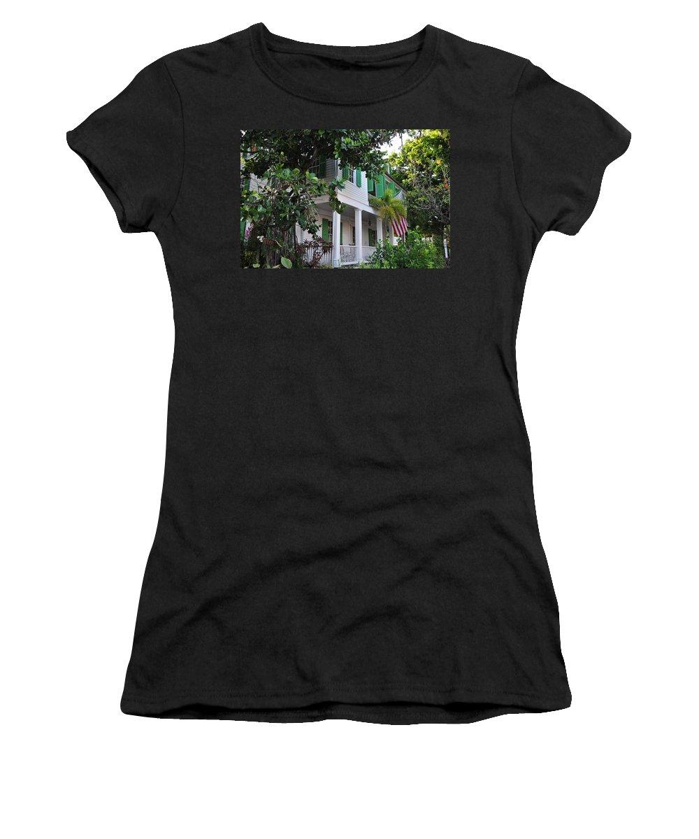 Audubon Women's T-Shirt (Athletic Fit) featuring the photograph The Audubon House - Key West Florida by Bill Cannon
