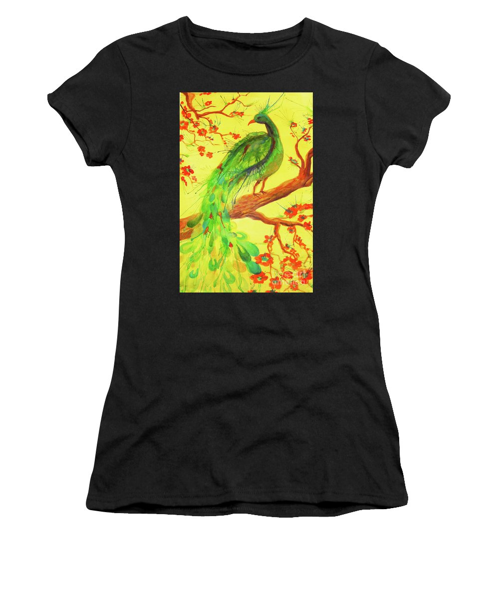 Bird Women's T-Shirt (Athletic Fit) featuring the painting The Auspicious Peacock by Angelique Bowman