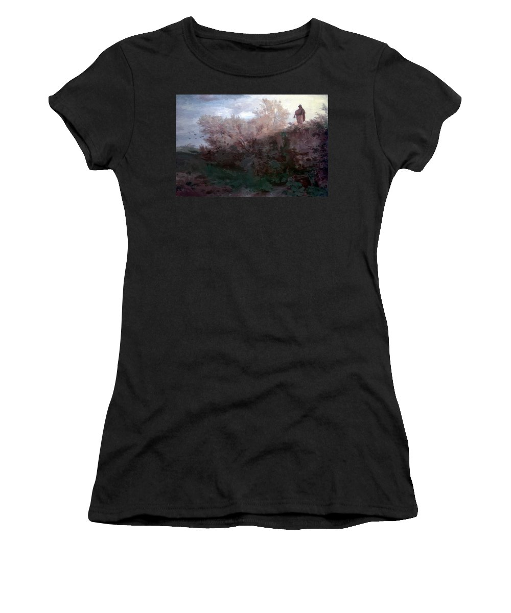 The Women's T-Shirt (Athletic Fit) featuring the painting The Bagpiper by Bocklin Arnold
