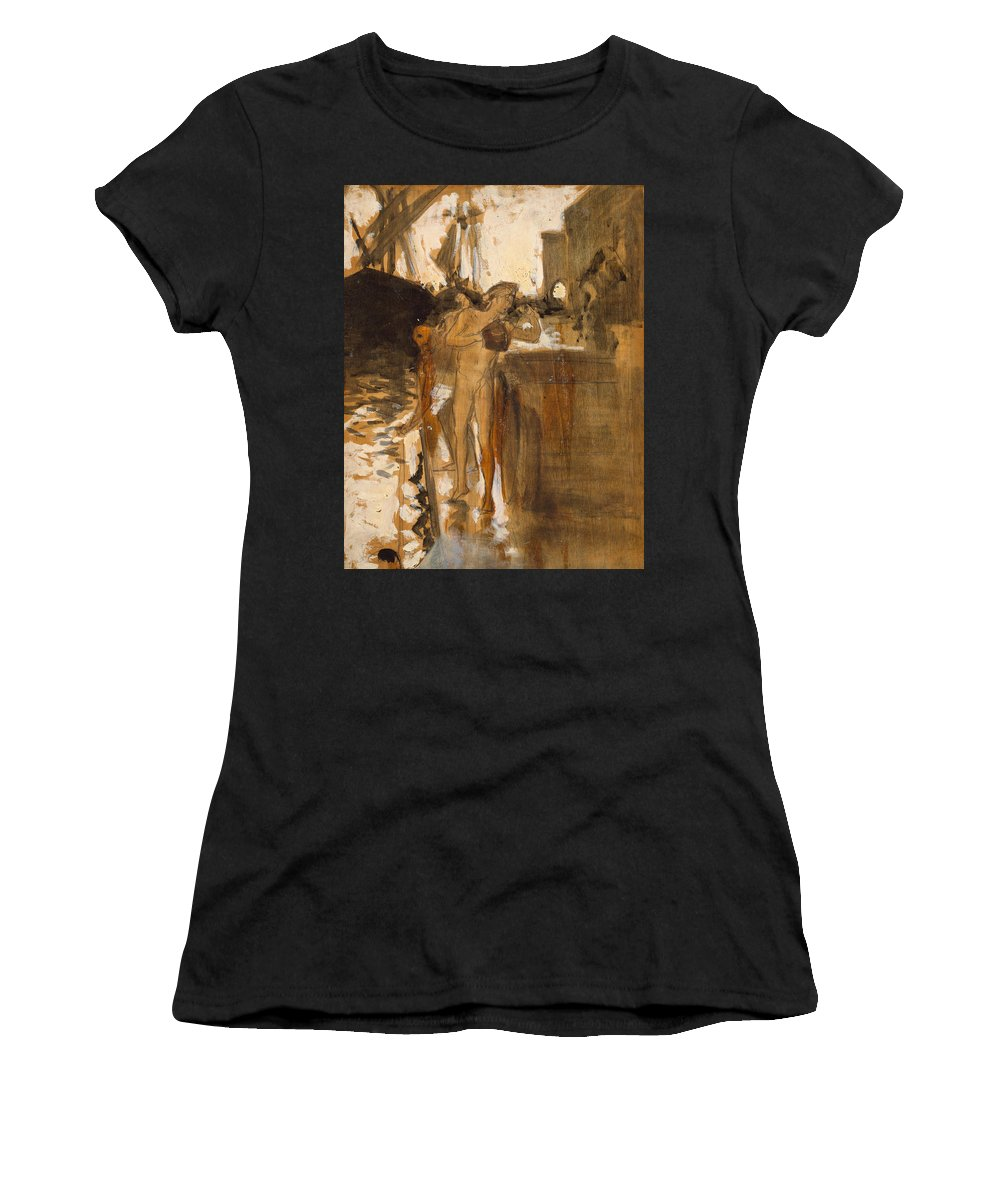 19h Century Art Women's T-Shirt featuring the painting The Balcony, Spain Two Nude Bathers Standing On A Wharf by John Singer Sargent
