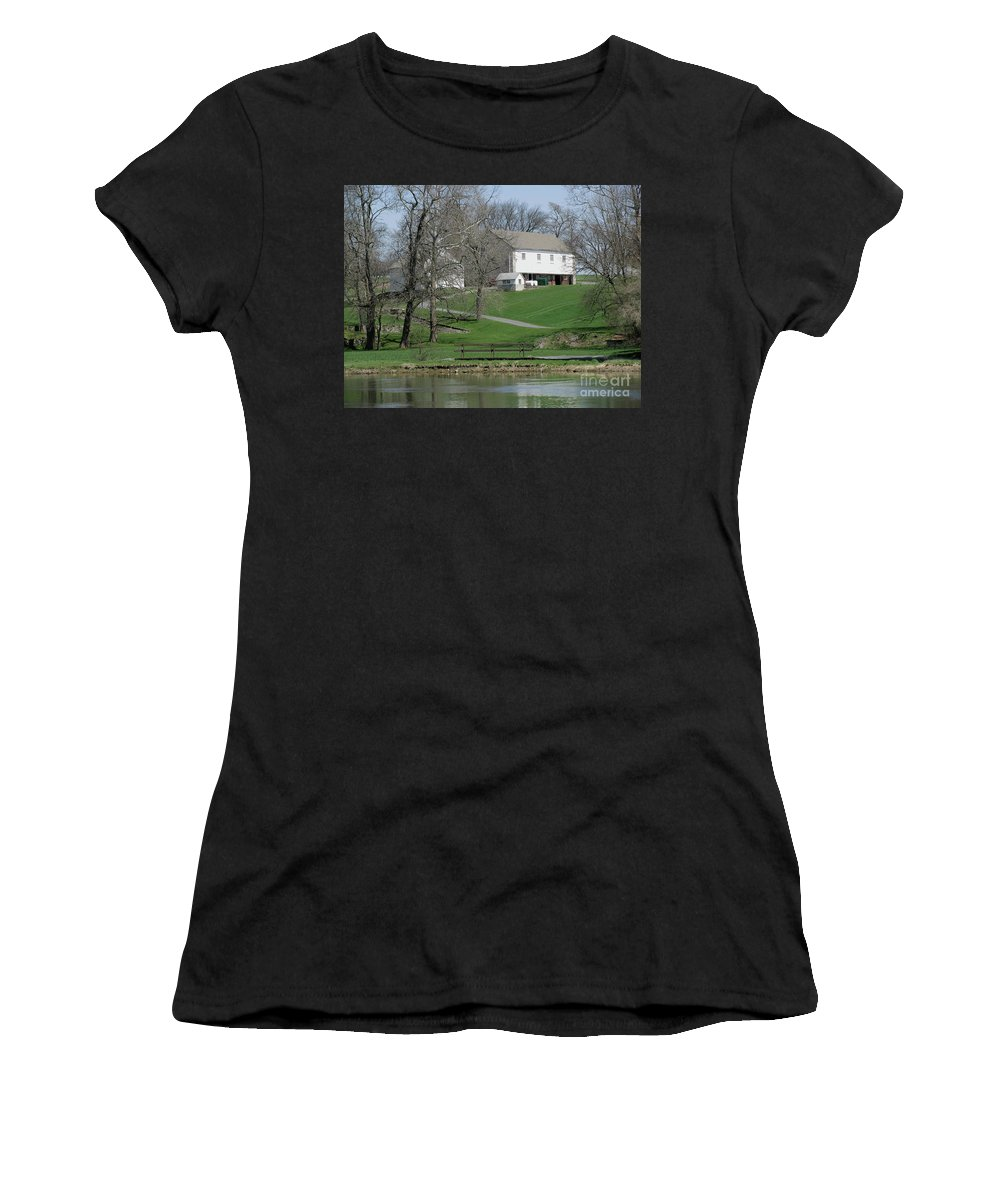 Barn Women's T-Shirt featuring the photograph The Barn Along The Tulpehocken by Donna Brown