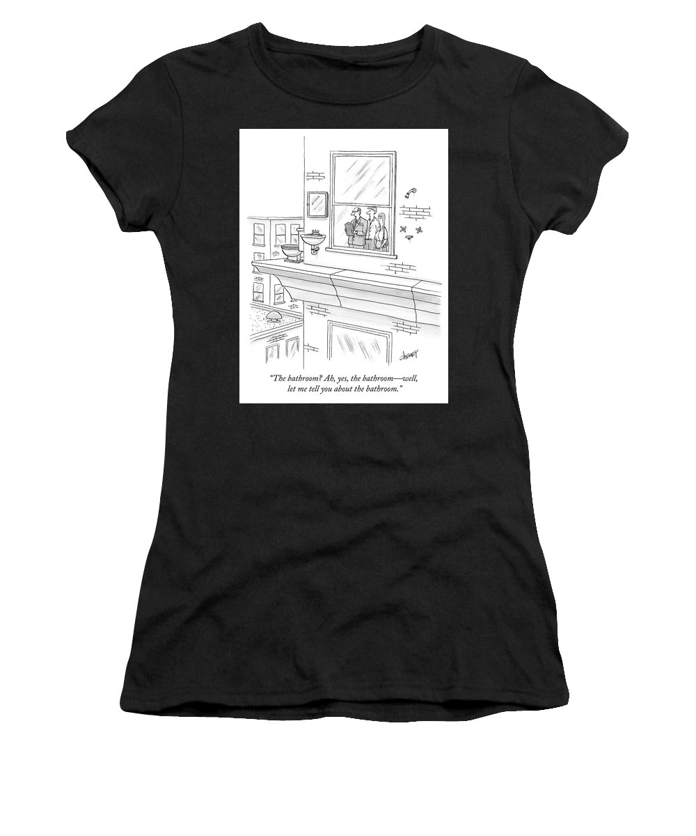 """""""the Bathroom? Ah Women's T-Shirt featuring the drawing The Bathroom by Tom Cheney"""