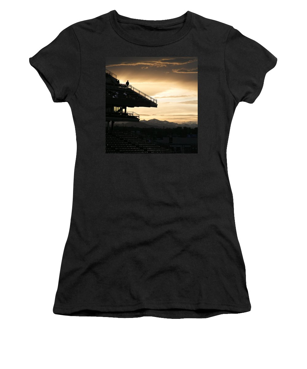 Sunset Women's T-Shirt (Athletic Fit) featuring the photograph The Beauty Of Baseball In Colorado by Marilyn Hunt
