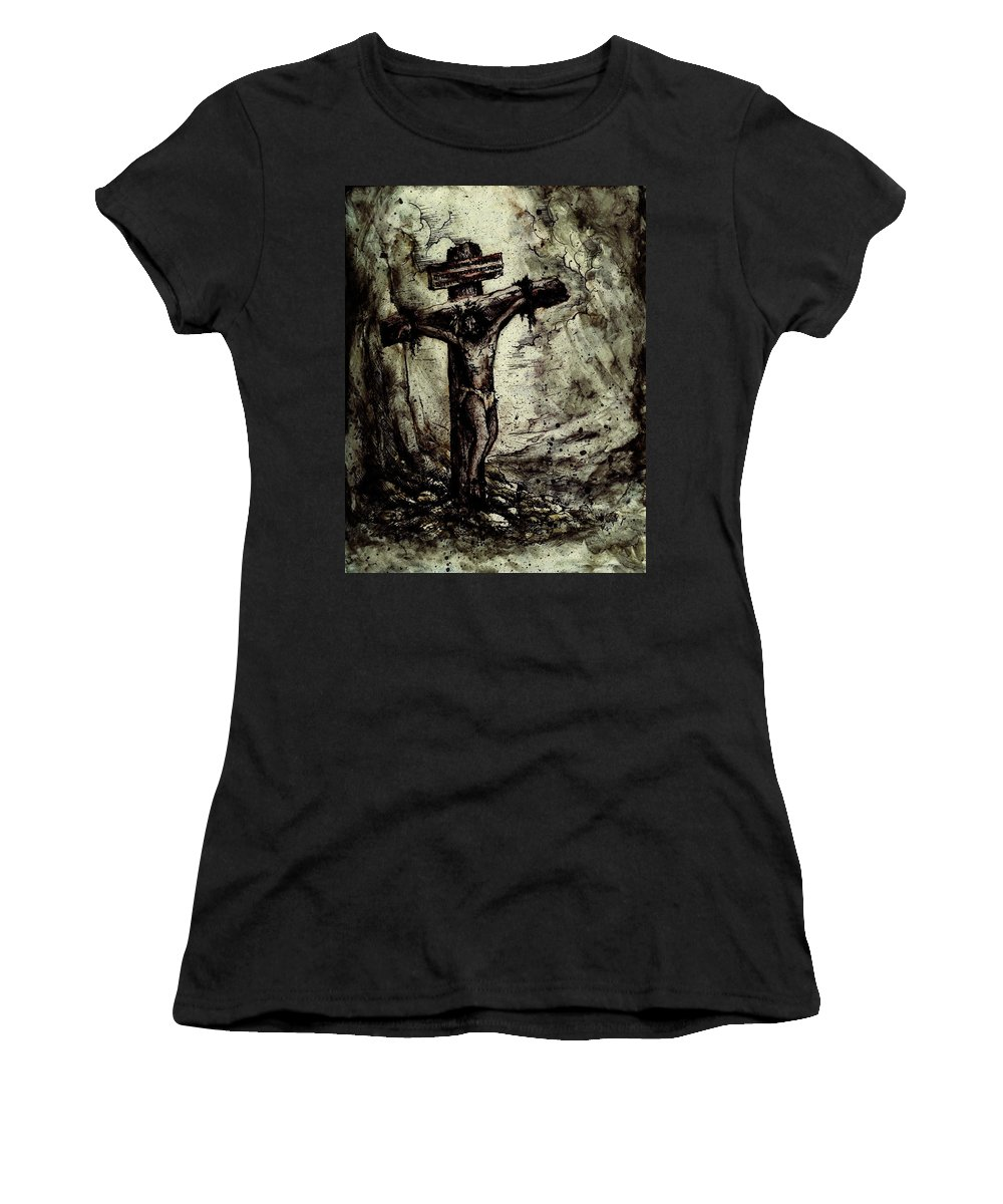 Figure Women's T-Shirt featuring the drawing The Beloved Son by Rachel Christine Nowicki