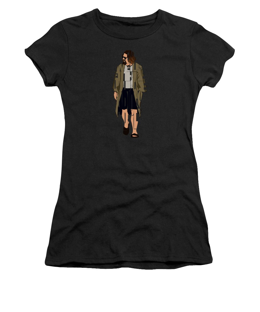 The Big Lebowski Women's T-Shirt featuring the digital art The Big Lebowski Inspired The Dude Typography Artwork by Inspirowl Design