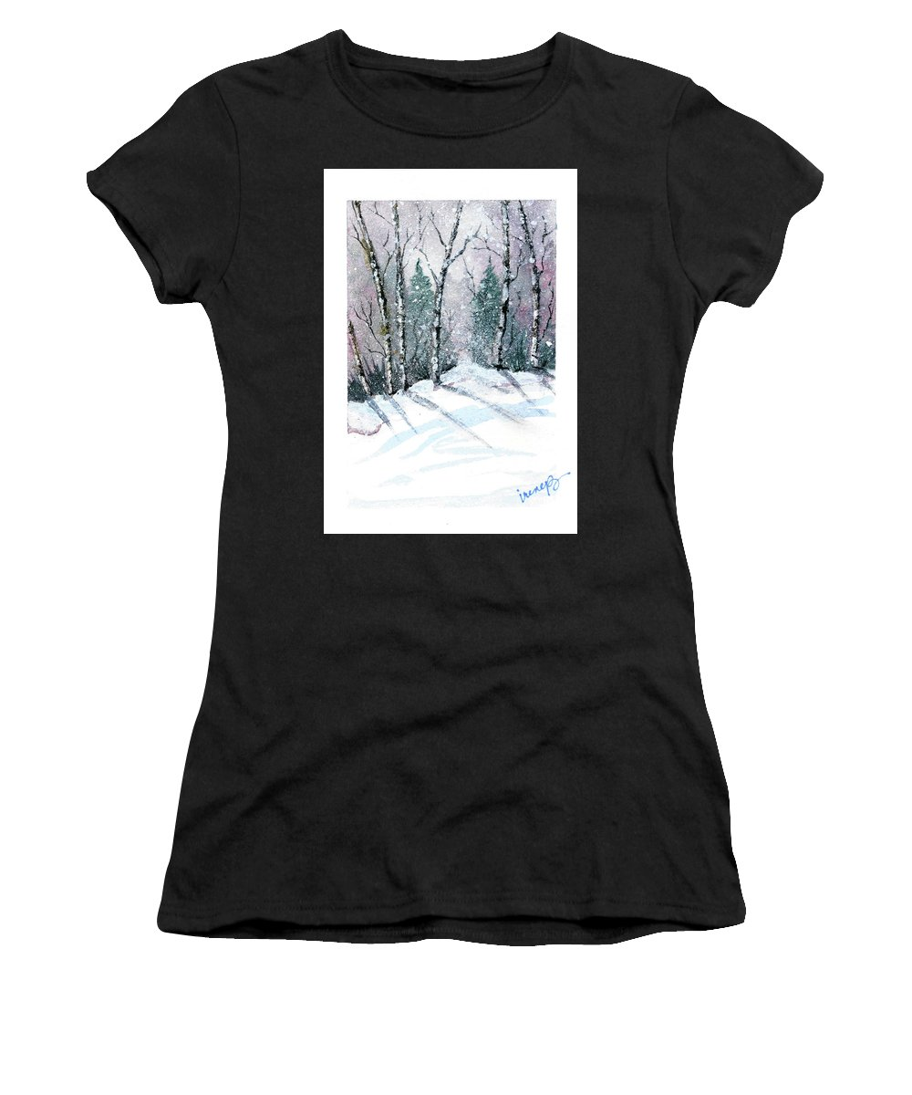 Birch Trees Women's T-Shirt (Athletic Fit) featuring the painting The Birch Grove by Irene Bacchi