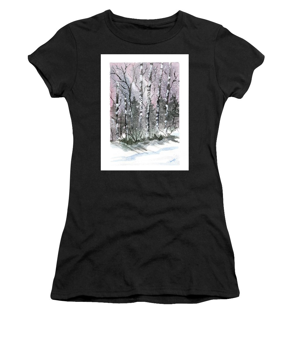 Birch Trees Women's T-Shirt (Athletic Fit) featuring the painting The Birches by Irene Bacchi