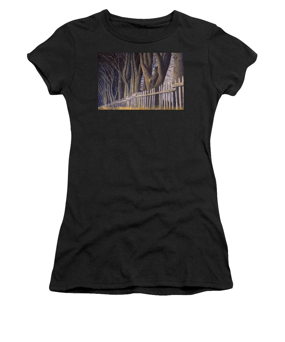 Bird House Women's T-Shirt (Athletic Fit) featuring the painting The Bird House by Jerry McElroy