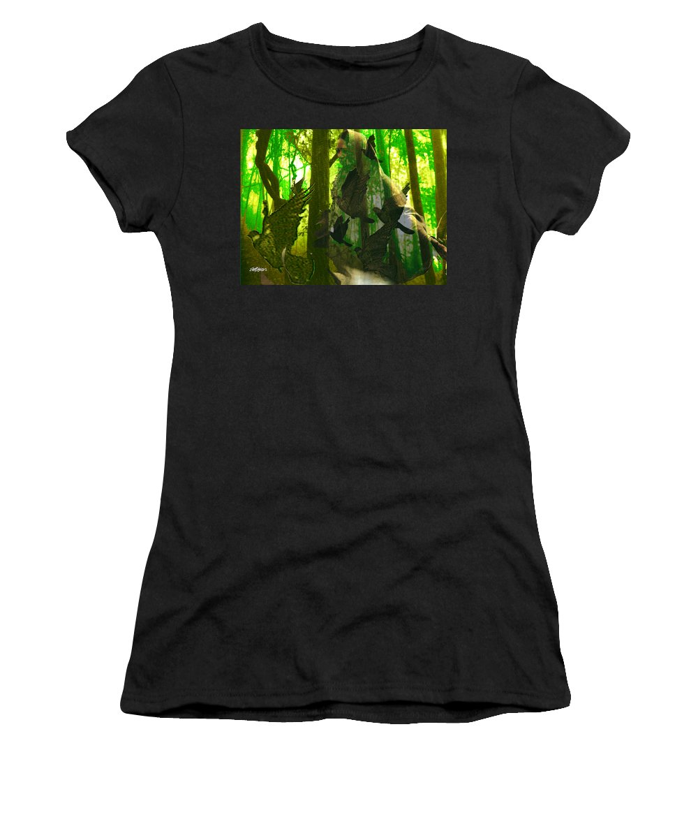 Birdwoman Women's T-Shirt (Athletic Fit) featuring the digital art The Birdwoman by Seth Weaver
