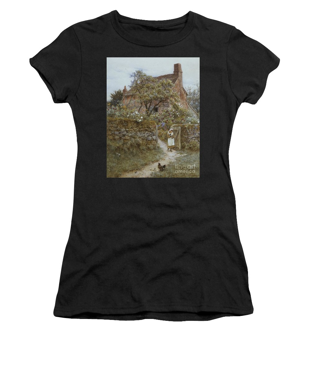 English; Landscape; Cottage; Rural; C19th; C20th; Country; Lane; Path; Child; Girl; Female; Victorian; Gateway Women's T-Shirt (Athletic Fit) featuring the painting The Black Kitten by Helen Allingham