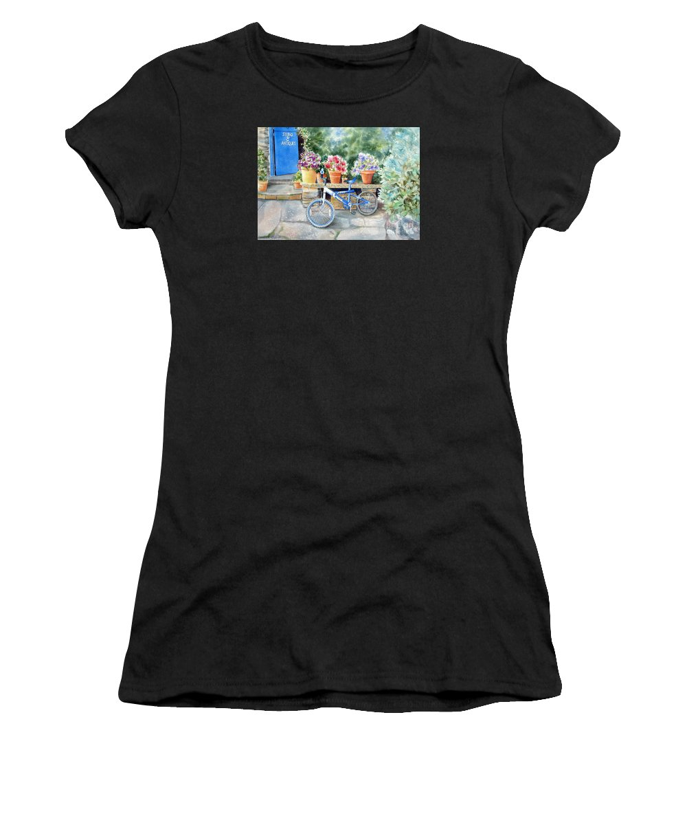 Blue Bicycle Women's T-Shirt (Athletic Fit) featuring the painting The Blue Bicycle by Deborah Ronglien