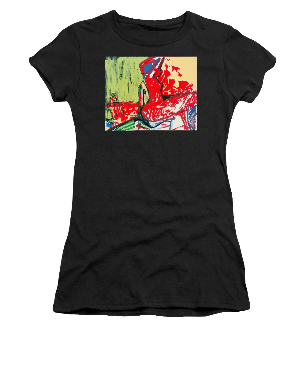 Woman Women's T-Shirt (Athletic Fit) featuring the painting The Blue Chair by Kurt Hausmann
